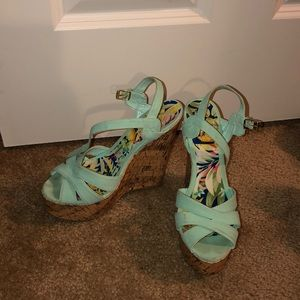 Charlotte Russe Teal Wedge